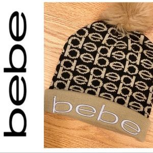 Bebe Black Gold Shimmer Pom Pom Beanie Hat Winter